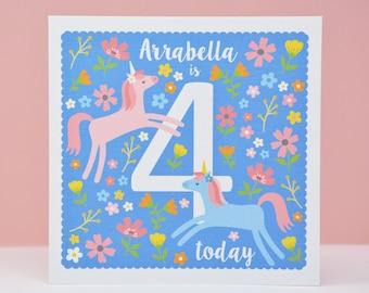 4th Birthday Card, Unicorn 4th  Birthday Card, Personalised age 4 Card, Fourth Birthday Card for a Girl, 4th Birthday Card for a Child
