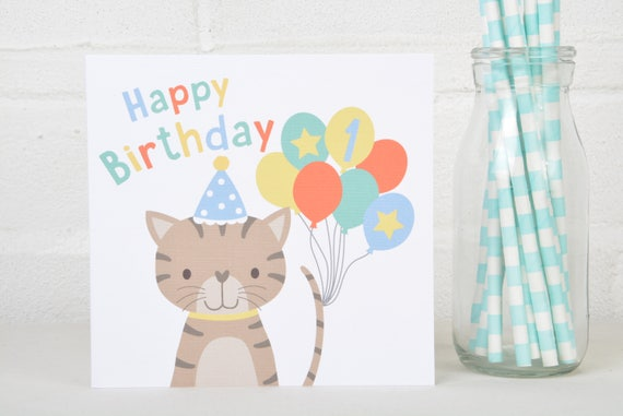 Cat Birthday Card For A Child 1st 2nd