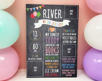 Kids Birthday Chalkboard, Birthday Board, Birthday Party Decoration, Birthday Poster, Photo Party Prop, 1st, 2nd, 3rd, 4th, 5th Birthday art