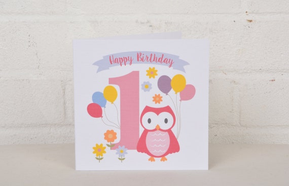Little Owl 1st Birthday Card For A One Year Old First
