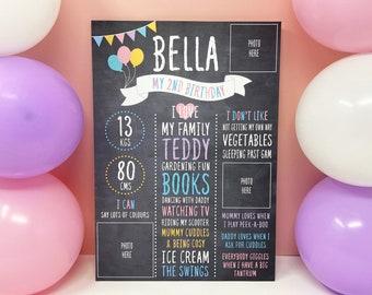 Kids Birthday Chalkboard, Girls Birthday Board, Birthday Party Decor, Birthday Poster, Photo Party Prop, 1st, 2nd, 3rd, 4th, 5th Birthday