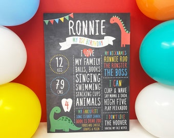 1st Birthday Chalkboard Sign, Dinosaur Theme Party Decoration, Photo Prop, Dinosaur Birthday Banner, Birthday Girl or Boy Birthday Sign