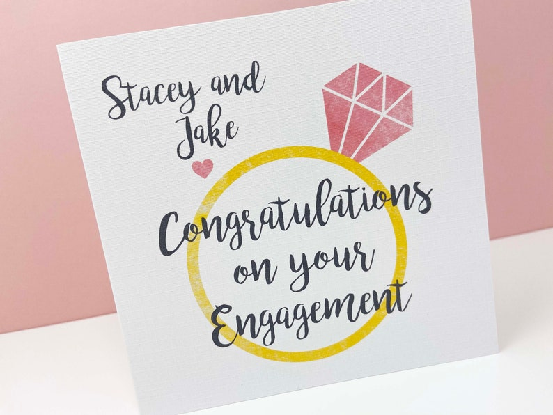 Personalised Engagement Ring Card Engagement Card Diamond image 0