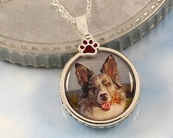 Custom Portrait Photo Pendant Necklace, pet mom, paw print charm, custom photo charm, picture pendant, pet photo necklace, dog agility