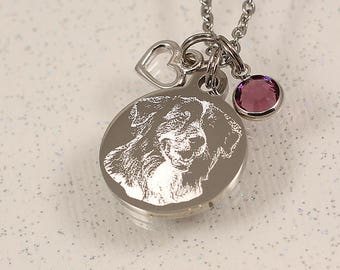 Engraved Picture Necklace, photo pendant necklace, custom portrait jewelry, engraved photo charm, photo pendant jewelry, custom pet necklace