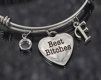 b4d7de35e7c6ae Best Bitches bracelet for women, girls weekend gift, best friend bracelets,  initial charms jewelry, best bitches bangle bracelet with charms