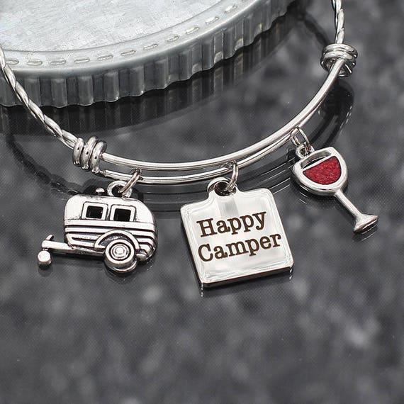 Cute Clip charm Handmade craft jewelry making TRAILER HAPPY CAMPER
