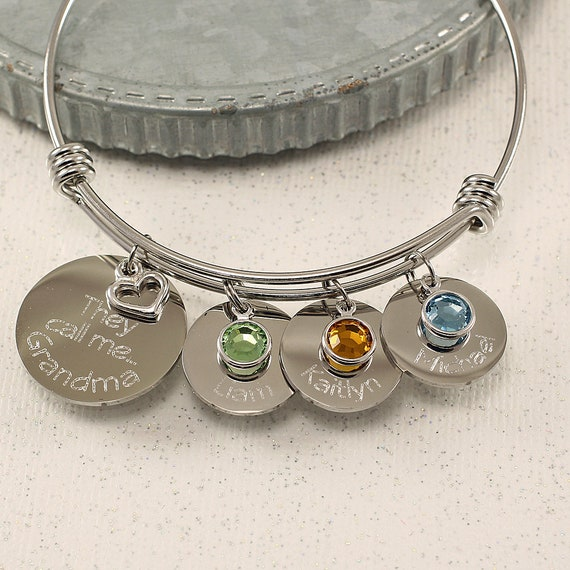 or any name! Grandma Bracelet Custom Engraved Stainless Steel Charm Bangle When a Child is Born so is a Nana