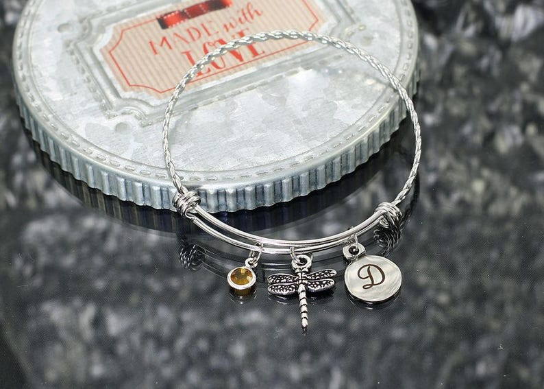 f7d0ba325c272 Dragonfly Bracelet, personalized jewelry gift, dragonfly charm bracelet for  women, dragonfly bangle bracelet with charms, dragonfly jewelry