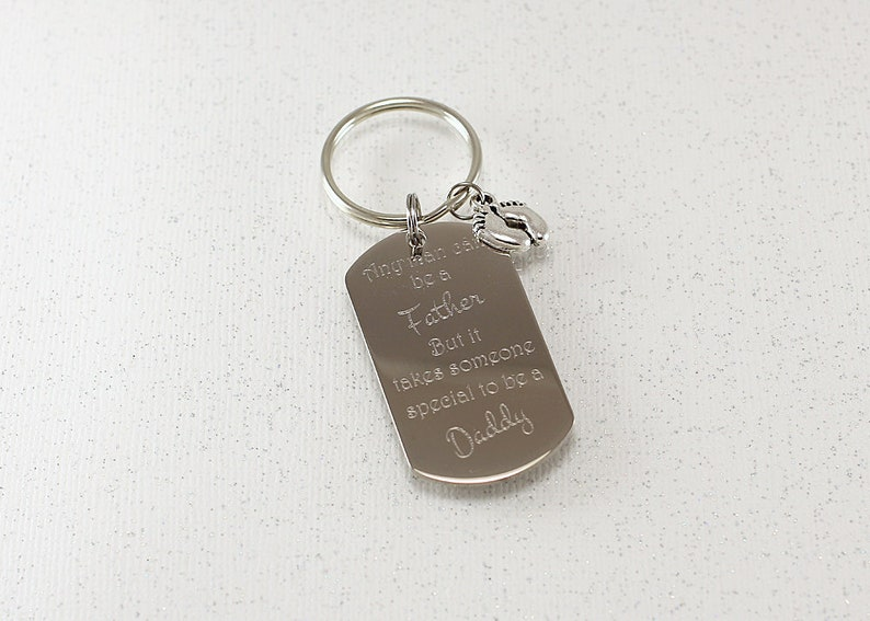 Custom Dad Keychain, engraved key tag father's day, personalized dad gift,  key chain for daddy, custom husband keepsake, someone special