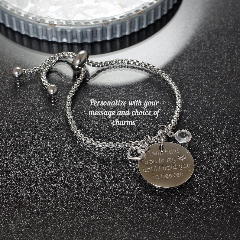 2869fe83d1d35 Custom Engraved Bracelet personalized w/ choice of message & charms,  adjustable bracelet custom engraved jewelry personalized charm bracelet