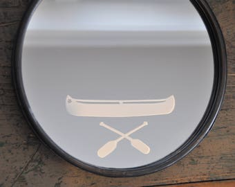 "Do you have a ""paddler"" in your life?  This is the gift for them!  10"" Porthole mirror on chain with hand etched canoe image."
