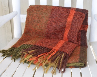 Cosy Vintage Mohair throw, greens, golds, reds, brown and orange - Hudson's Bay Company - Stay toasty on those cool mornings or evenings!