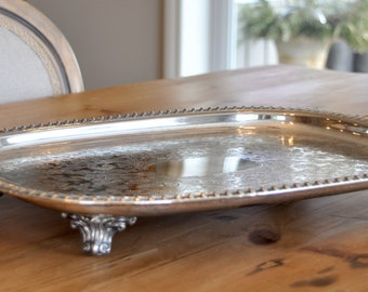 Big beautiful vintage footed silver plate serving tray - just what you need to serve those mint juleps, mojitos or platter of hors d'oeuvres