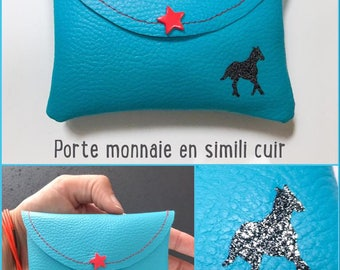 Wallet in faux leather with horse
