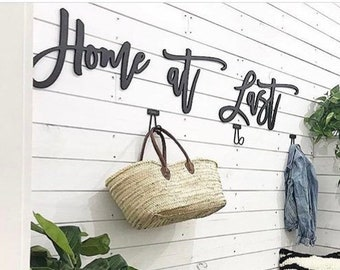 Mud Room sign Home at Last   Wood Words   Home Decor seen on The Rustic Boxwood   Utility room   Mudroom Wood Signs   Entryway Wood Signs  