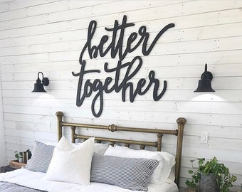 Better Together wooden wall art signs   big words   above the bed decor   hand lettered font   ready to hang   trending wedding decor 