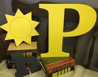 """Wooden alphabet letters 10"""" Letter P shown.   home decor or crafting!  Use for wreaths or open shelving.   Crafted from 1/2"""" baltic birch."""