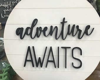 Wooden Christmas Gift Shiplap sign   Round   Adventure Awaits   Nursery sign   Mountain Theme    Travel Theme   Ready to hang modern  