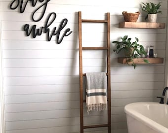 Stay Awhile   Wood Signs   Wood Words   Stay Awhile Wooden Decor   Master Bath Sign   Entryway Sign   Stay Awhile Cutout Sign  Free Shipping