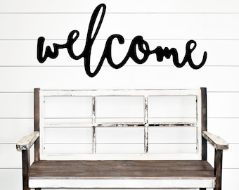 Entry way decor, Welcome, entry way sign, Welcome wood cut word sign.  Ready to Hang.  Free Shipping.