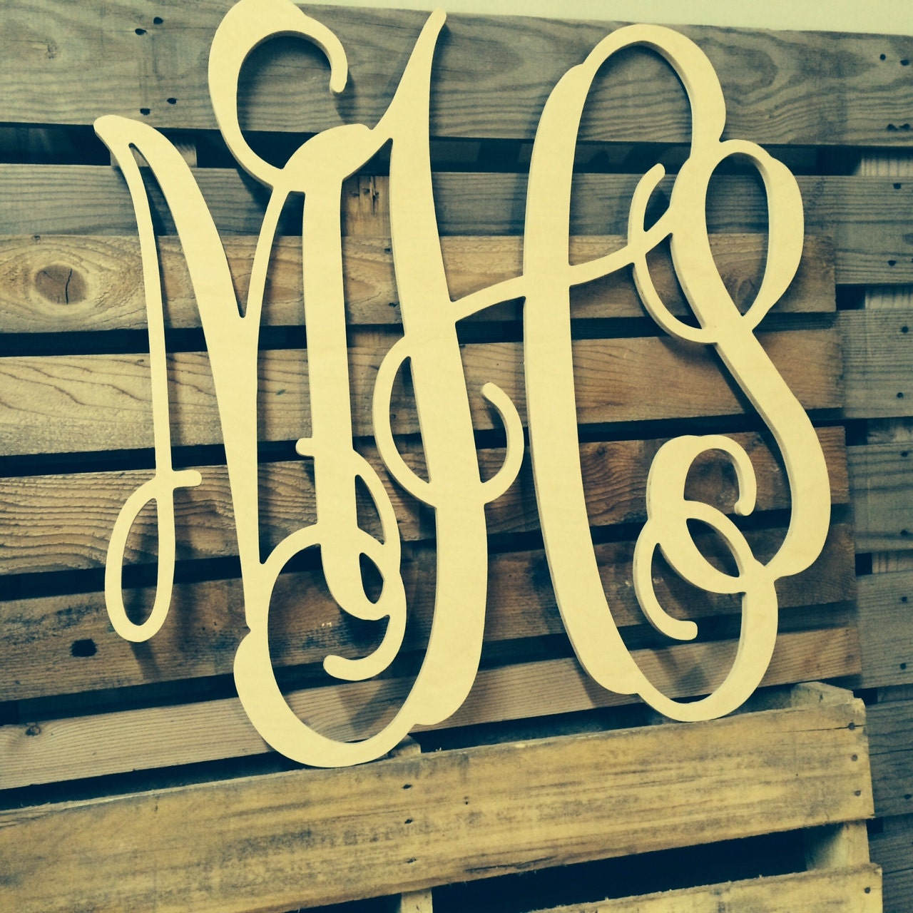 Painted Monogram Extra Large Wall Letters Cursive Wooden