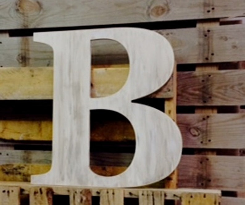 Wedding Guest Book Big Wooden Letter B Distressed Alphabet Capital Hand Painted Custom Wedding Letter Family Sign Initial Monogram B