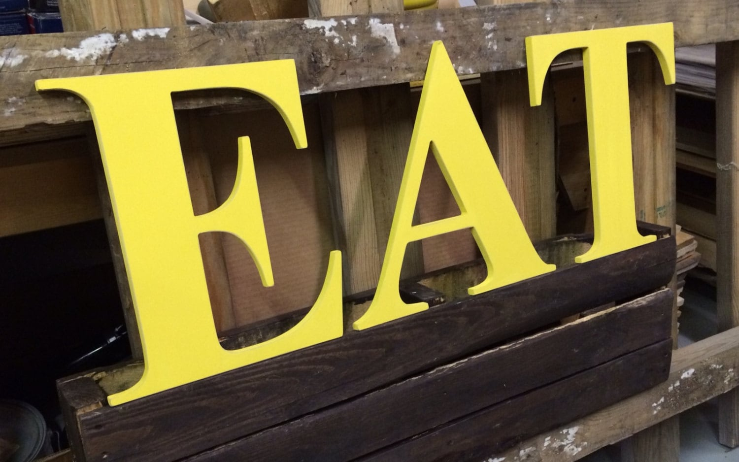 EAT Wooden letters yellow red kitchen farmhouse style capital