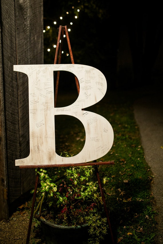 Large Wooden Letter B 30 Inch Slightly Distressed Alphabet Capital Hand Painted Custom Wedding Letter Family Sign Initial Office
