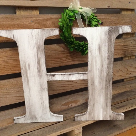Wedding Guest Book Big Wooden Letter H Rustic Or Urban Capital Alphabet Hand Painted Custom Wedding Letter Family Sign Initial Monogram