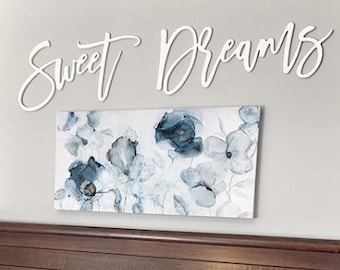 Sweet Dreams   Above the bed decor    Large wooden words   Wood Art   Words for walls    #Princetonparklife    Free Shipping.