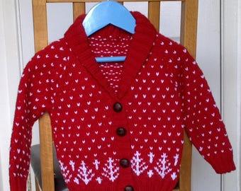 7b61b2243 Boys Hand Knitted Nordic Pattern Shawl Collar Cardigan 2-3