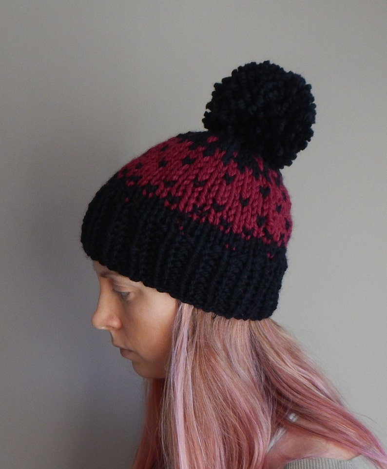 0ca813c9694 Knit fair isle hat knit beanie red and black chunky knit