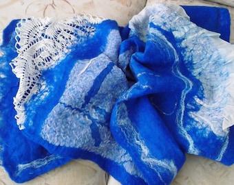 Double-sided felt scarf ,Felt cape , Nunofelt bolero,Handmade item,One a kind piece of art , Organic materials,Woman's mode,European design