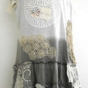 Boho Style dress Shabby Chic Tunic Recycled Vintage Tunic with Hand Knitted Victorian Lace Hand Painted with Natural Materials