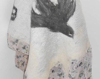 Felt cape, Scarf-sandwich ,Double-sided felt scarf , Nunofelt bolero,Handmade item,One a kind piece of art , Organic materials