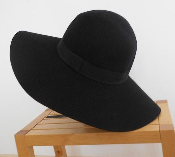 bcb6421a5 Vintage Ladies hat , H&M ,Black Wool Felt Hat with with a broad hemisphere  , Wool Felt Fedora Hat