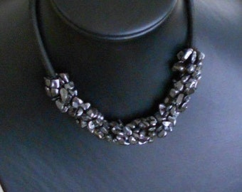 Hematite necklace, Handmade necklace ,Accessories of semi-precious stones,Organic materials