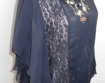 Vintage MISS ETAN  black tunic, made in Poland