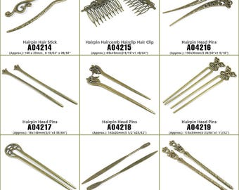 Jewelry Making Supply Charms Findings Hairpin Hair Stick Haircomb Hairclip Clip Head Pins Bronze Tone Crafting Craft Supplies Jewellery