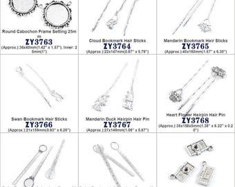 Cabochon Frame Setting Cloud Bookmark Hair Sticks Mandarin Swan Duck Hairpin Pin Heart Flower Ruler Camera Jewelry Making Supply Charms