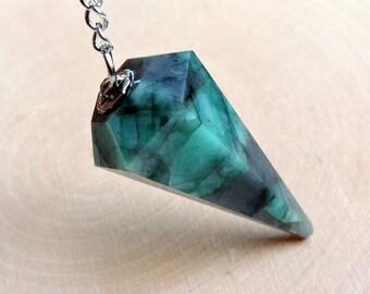 "Brazilian Emerald Pendulum, 1.5"" Inch for Dowsing and Readings"
