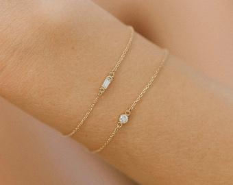 14K Gold Diamond Baguette Bar Half Bezel Bracelet Layering Stackable Best Selling Gift