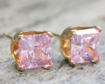 14K Yellow Gold Princess Cut Pink CZ Stud Earrings