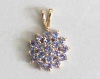 Vintage Violet Sapphire Floral Flower 14K Gold Pendant