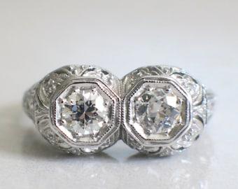 Art Deco Platinum 1920's Double Diamond Filigree Ring