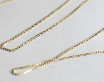 14k Yellow Gold Box Chain Necklace Extra Long 26 Inches