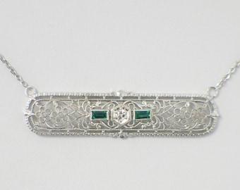 1920's Art Deco Emerald and Diamond Pin Conversion Bar Pendant Necklace 14K White Gold
