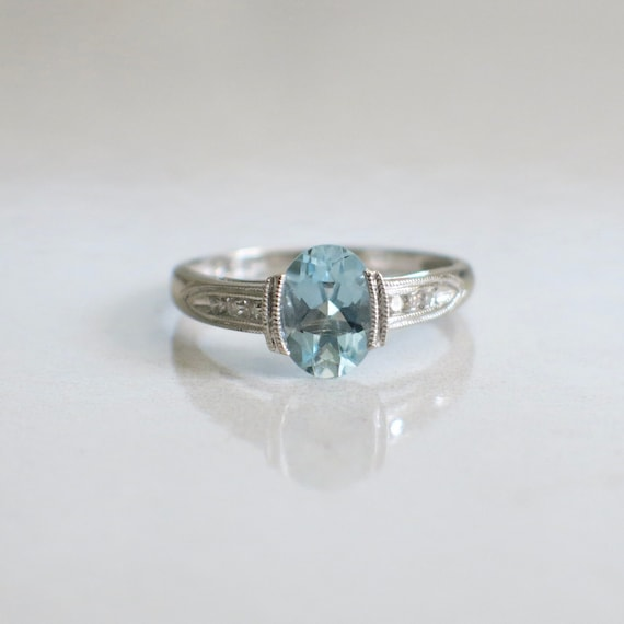 Oval Aquamarine and Diamond Accented Vintage Ring - image 1
