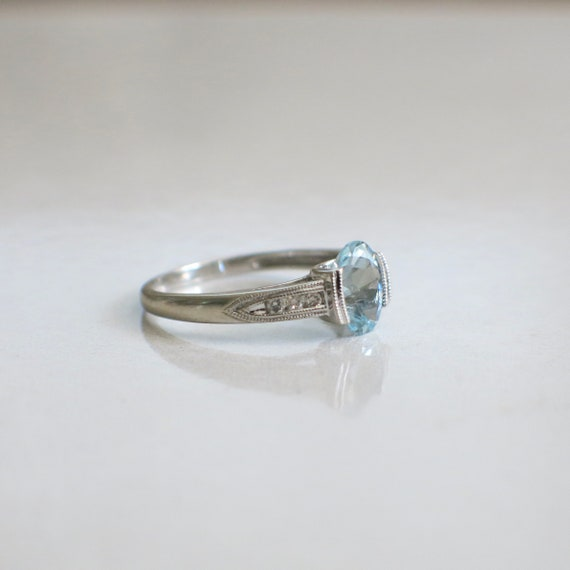 Oval Aquamarine and Diamond Accented Vintage Ring - image 3